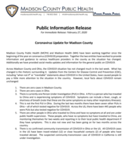 Partner Information: Coronavirus Update for Madison County